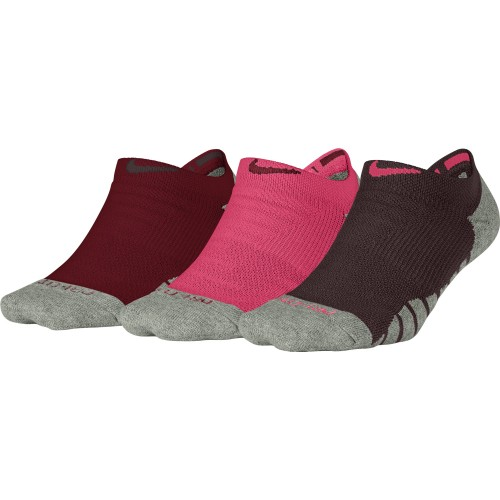 Nike Dry Cushion No Show Trainingssocken Damen 3er Pack rot/pink/bordeaux