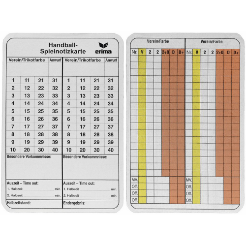 Erima Spielnotizkarten Handball