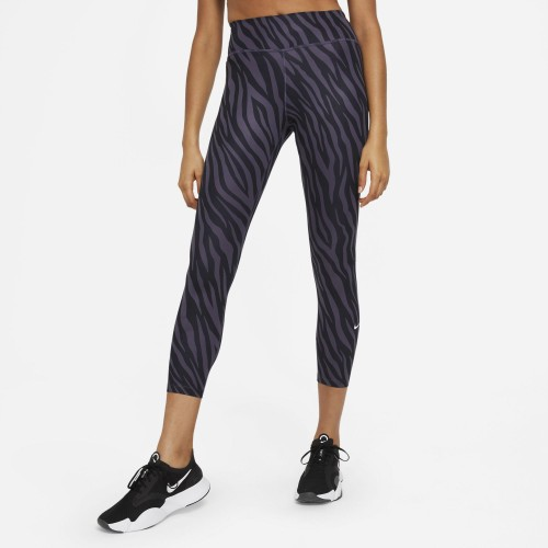 Nike One Icon Clash ⅞ Leggings Damen Dark Raisin/Weiß Zebra-Print